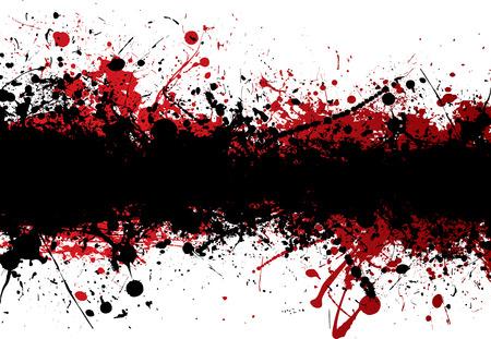 blemish: Blood red ink splat overlayed with black abstract banner Illustration