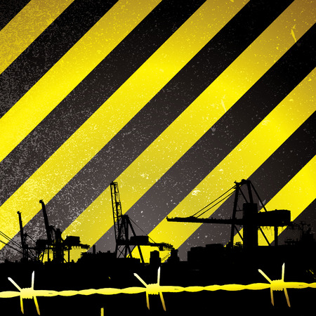 Crane silhouette with yellow and black stripes and barbwire Stock Vector - 4698652