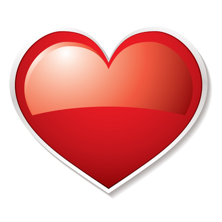 vectors abstract: D�a de San Valent�n el amor del coraz�n de color rojo con blanco biselado y sombra