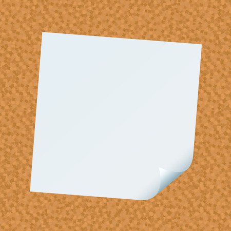 cork board with white paper note with corner curl Vector