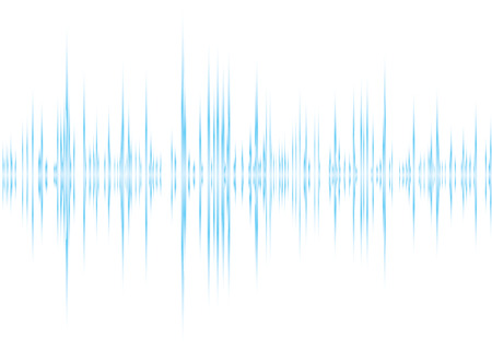 Blue and white graphic equalizer background with peak graph Vector
