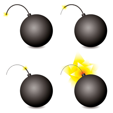 Story of a cartoon bomb at different stages with shadow Vector