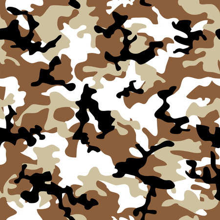 Desert camouflage abstract seamless background in shades of brown Vector