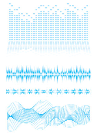 Music inspired background in blue with sound waves and equalizer graph Illustration