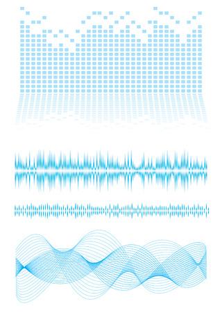 geluidsgolven: Muziek geïnspireerd achtergrond in blauw met geluidsgolven en de equalizer grafiek Stock Illustratie