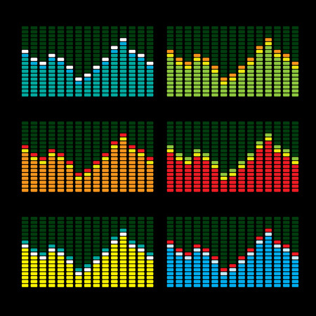 Collection of six graphic equalisers in various color variations Vector