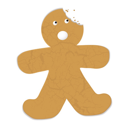 Gingerbread man with a bite out of his head and startled expression Vector