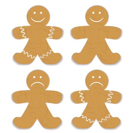 gingerbreadman: Illustrated gingerbread man with white frosting and smile variation