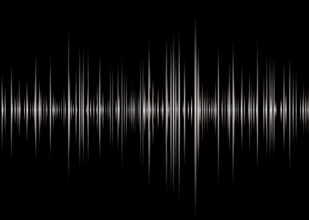 Black and silver graphic music read out with peaks and wave forms Illustration