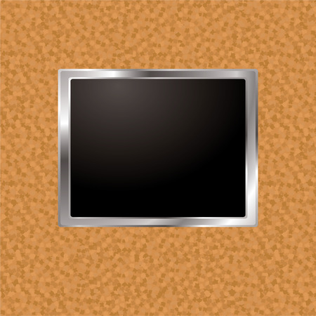 bevel: Cork board wall with silver bevel frame and blank image holder