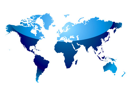 Modern blue world map with light reflection and coast outline Stock Vector - 4744066