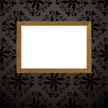 Black and gray wallpaper design with wooden picture frame and blank copyspace Vector