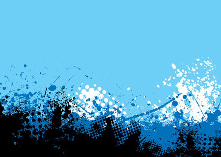 Shades of blue background with abstract ink splats and copyspace