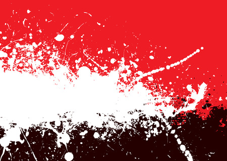 Red and black abstract background with ink splats Vector