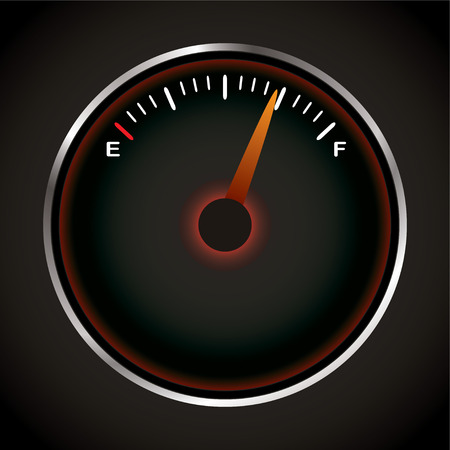 bevel: Fuel dial with red neon and silver bevel