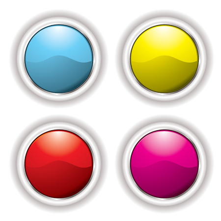 Collection of four buttons with white bevel and drop shadow Vector