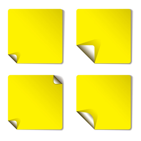 yellow sticker with corner curl and drop shadow Vector