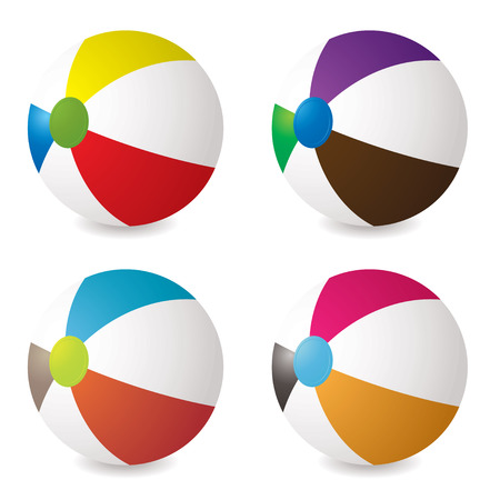 collection of beach balls with modern colours and shadow Vector