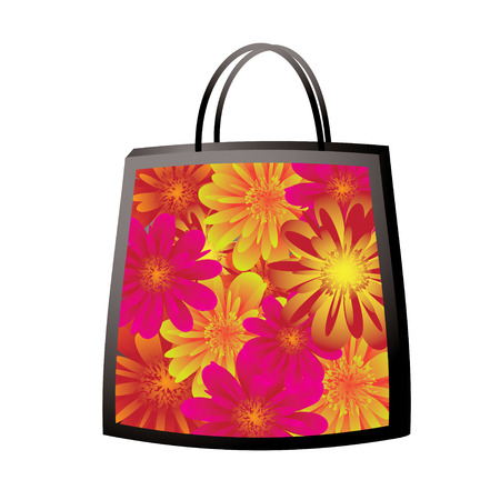illustrated colorful floral bag with bright vibrant flowers Stock Vector - 4790371