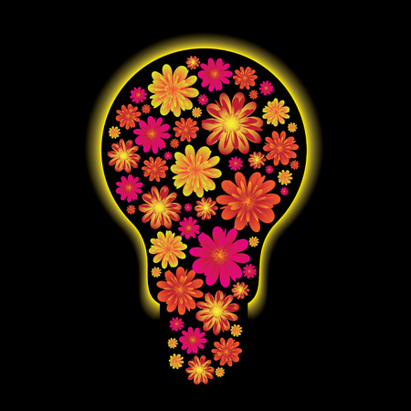 floral light bulb with yellow outter glow and black background Stock Vector - 4790377