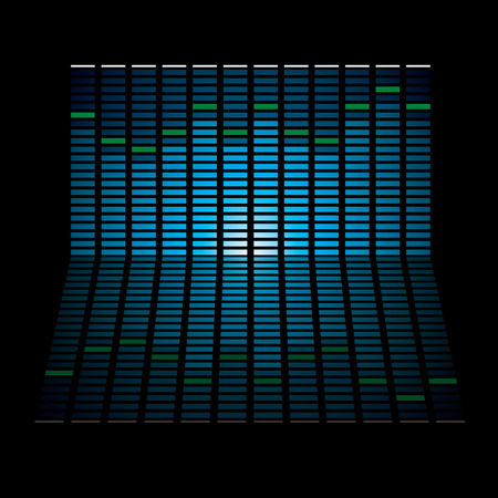 glowing lights: Musical graph with glowing lights and reflection in black background Illustration