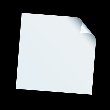 White piece of square paper with its edge curled over on a black background Vector