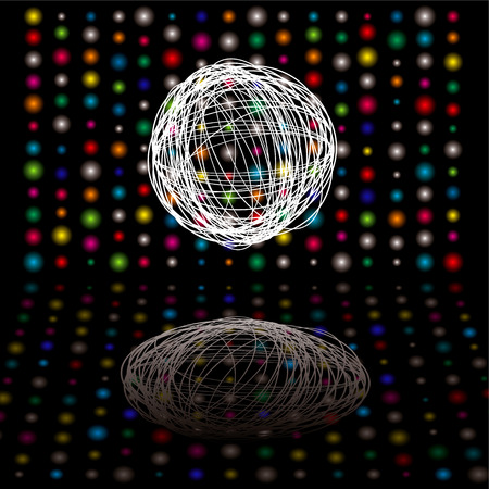 equaliser: Disco bright lights with scribble ball on a black background Illustration