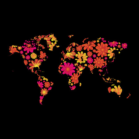 Brightly colored floral world design with black background Vector