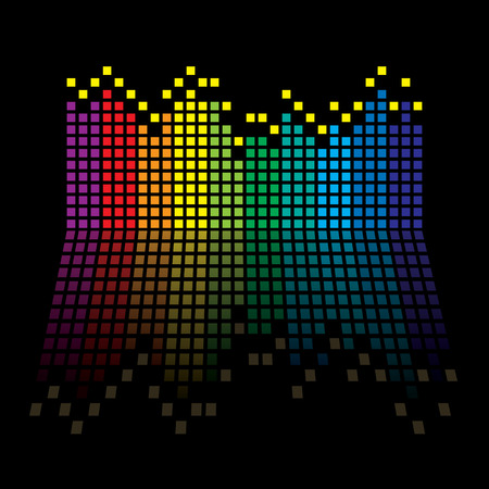 equaliser: Rainbow music graphic equaliser with reflection in black background