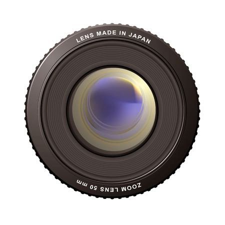 illustrated close up of a camera zoom lens with reflections