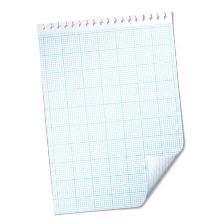 Single piece of paper with graph grid with blue mesh Vector
