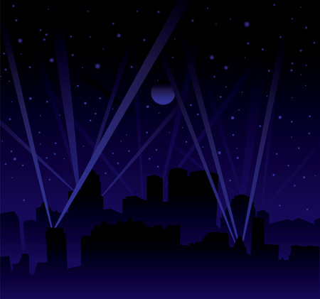 Dark night with large moon and stars with searchlight and city skyline Vector