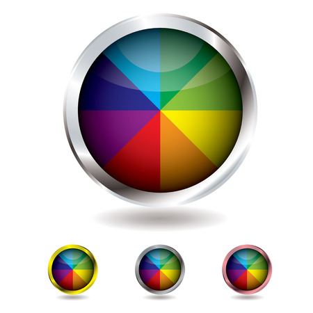 bevel: Brightly colored beach ball button with metal bevel and shadow
