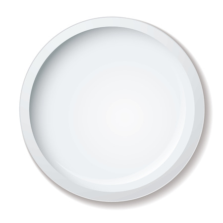 Simple clean white porcelain dinner plate with shadow Vector
