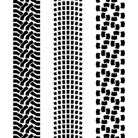 tread: Black pattern prints from a different offroad car tyres