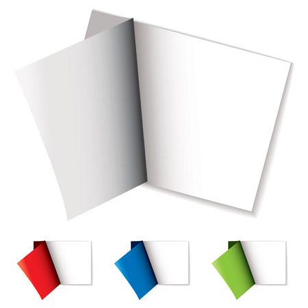 White sticker with colorful cover page peeled off with shadow Vector