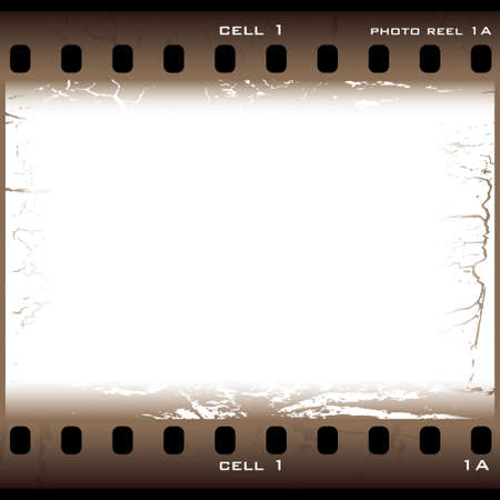 Single piece of film with brown grunge effect Vector