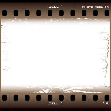 carrete de cine: Sola pieza de pel�cula de color marr�n con efecto grunge