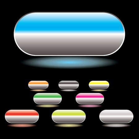 reflect: Collection of gel filled buttons with glowing drop shadow and black background Illustration