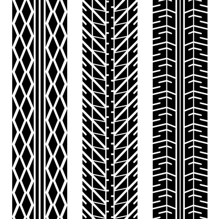tread: Three different tire tread patterns in black and white Illustration