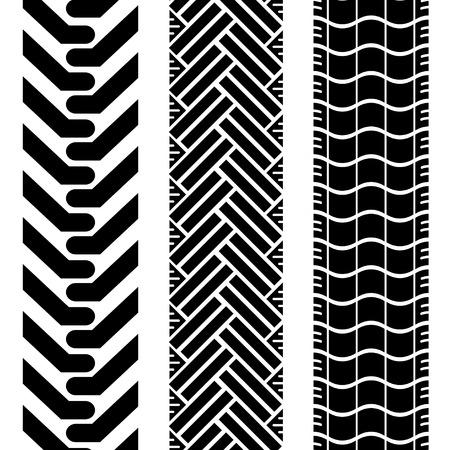 car tire: Verzameling van loopvlakken band in zwart-wit van kleur en patroon herhalen