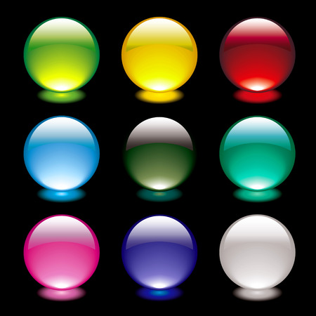 mauve: Colourful bright gel filled icon buttons on black background