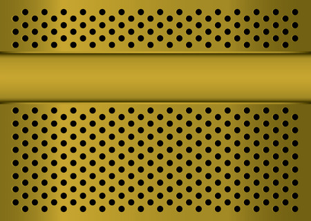 Golden abstract metal background with banner blank copyspace Vector