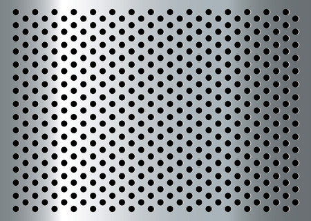 Silver abstract metal background with holes and light reflection Vector
