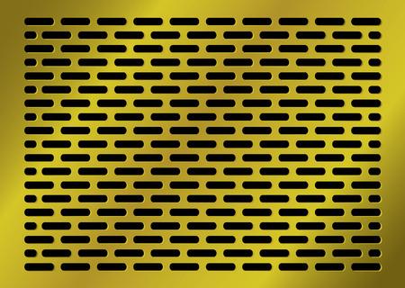 pavimento lucido: astratto sfondo dorato a forma di losanga con fori in nero Vettoriali