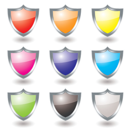 Collection of nine silver shields with color variations and shadow Vector