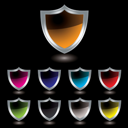 Silver bevel shield with colour variation and drop shadow with black background Vector