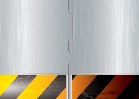 slide: Silver metal space sliding door with warning striped banner Illustration
