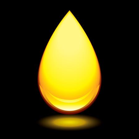 ámbar: Gota de oro de �mbar con brillo exterior y fondo negro Vectores