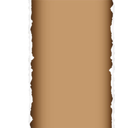 ripped paper: brown background with torn edges and white paper strip Illustration